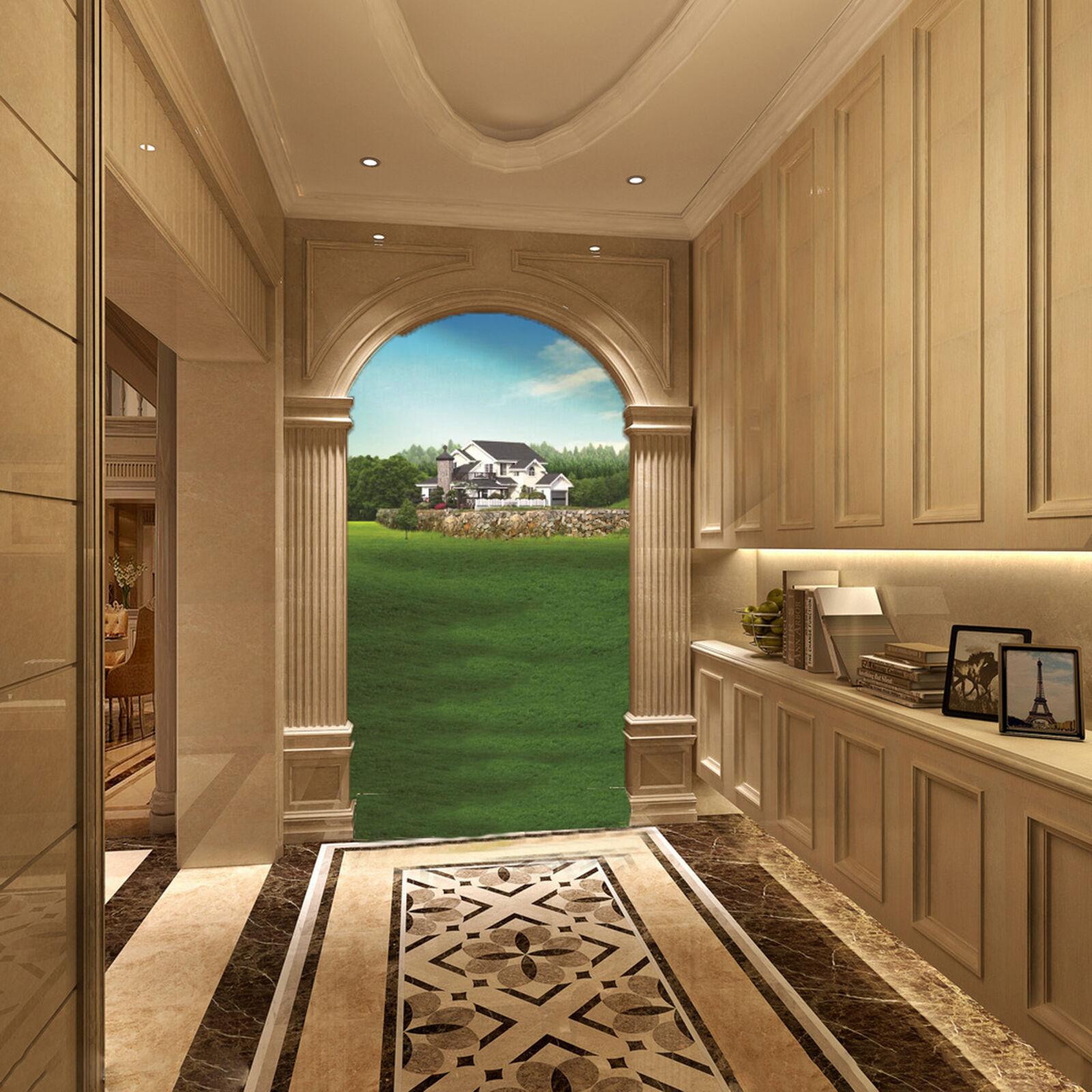 3D Grüne Felder Haus 83 Wandbild Fototapete Bild Tapete Familie Kinder DE Lemon