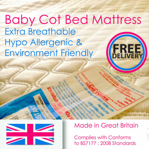 Baby Cotbed Foam Mattress Extra Breathable Toddler Bed 5 7.5,10,13 cm Thick