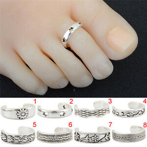 Silver-Toe-Rings-Adjustable-Foot-Beach-Feet-Jewelry-Lady-Knuckle-Top-FingerG1HWC