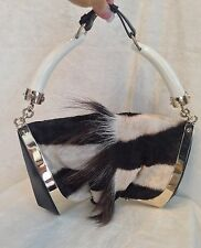 YSL Yves Saint Laurent Black White ZEBRA MOMBASA HORN FUR SKIN Handbag GOLDTONE