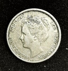 Netherlands-1905-Silver-10-Cents-Scarce-low-Mintage-Grade-VF