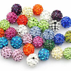 Wholesale-100Pcs-Mixed-Crystal-Rhinestone-Pave-Clay-Disco-Ball-Spacer-Beads-10MM