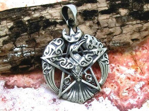 Phoenix Pentagramme Argent 925 Magie Celtes Gothiques Corbeau Pentacle Pendentif