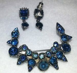Vintage Set Deep Blue Sapphire AB Crystal Crescent Brooch ...
