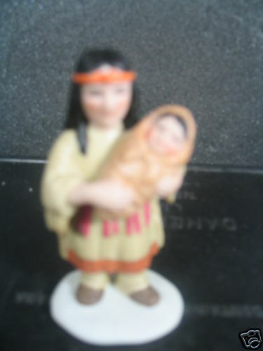 Lefton 1998 INDIAN MOTHER HOLDING BABY Miniature Porcelain New Old Stock