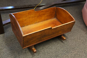 Antique Rocking Baby Cradle Wood Hand Made Arts Amp Crafts