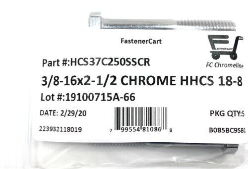 5 3//8-16x2-1//2 Chrome Stainless Steel Hex Cap Screws Chrome Hex Bolts 18-8