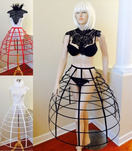Victorian Hoop Skirt, Petticoat, Underwear   Black Red white hoop cage skirt long pannier 8 rows plastic boned crinoline  $79.99 AT vintagedancer.com