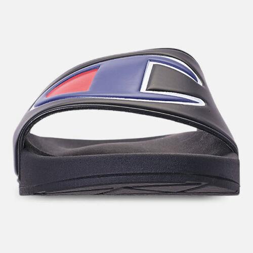 CM100073M Men/'s Champion IPO Slide Sandals Black//Red-Blue Sizes 8-13 NIB