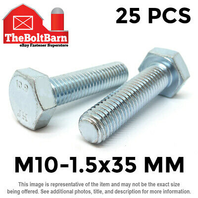 M6-1.0x20 Metric Class 10.9 Hex Cap Screws Hex Bolts Zinc Clear 25