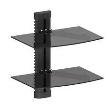 Black Glass DVD Shelves Shelf 2 Tier SKY Game Console Ampifier Player Virgin Box