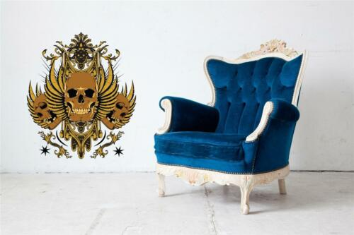 Wall Art Sticker Gold Winged Skulls Full Colour