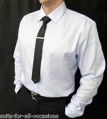 Fein Men's Ex M&s Sky Blue Shirts 100% Cotton Single Cuff Non-iron Modische Muster