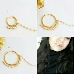 Gold Plat Pearl Nose Ring For Pierced Nose Plain Nath Bridal