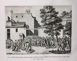 12-Juillet-1789-Paris-Revolution-Francaise-Chatelet-Rare-Gravure-d-epoque-Soldat