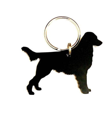 Flat Coated Retriever Dog Keyring Bag Charm Keychain In Black With Gift Bag