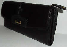 Coach F48062 Ashley Leather Checkbook Wallet Black $248