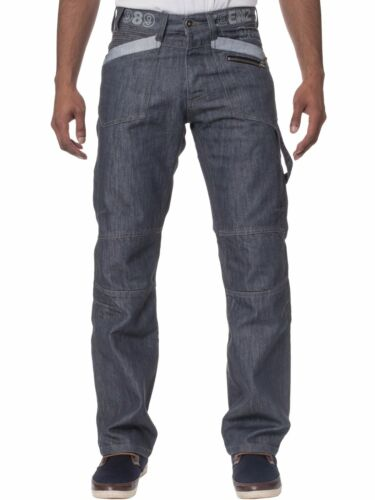 New ENZO Mens Regular Fit Jeans Straight Leg Black Denim Trousers Pants 28-48/'/'
