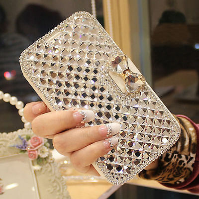 Luxury Bling Crystal Diamond Bowknot Wallet Flip Case Cover For iPhone & Samsung