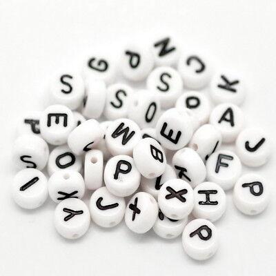 Großverkauf Schwarz Buchstaben Rund Flach Perlen Beads Spacer 7mm