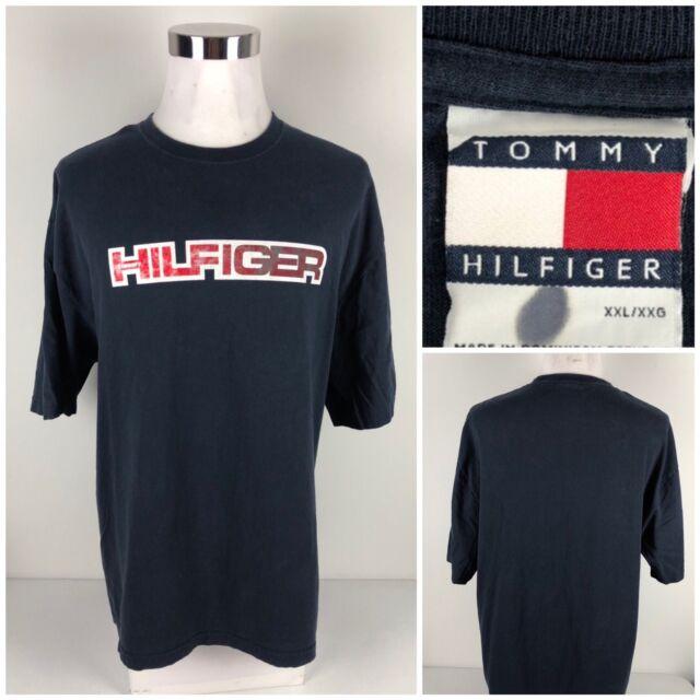 7a651230 TOMMY HILFIGER Vintage 90s Casual Short Sleeve V-Neck Shirt Mens 2XL ...