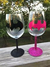 HANDMADE BATMAN THEMED GLITTER WINE GLASSES HIS AND HERS