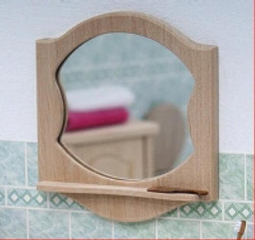 Liebe HANDARBEIT 46092 Badspiegel Holz: Erle 1:12 für Puppenhaus (0761) NEU! #