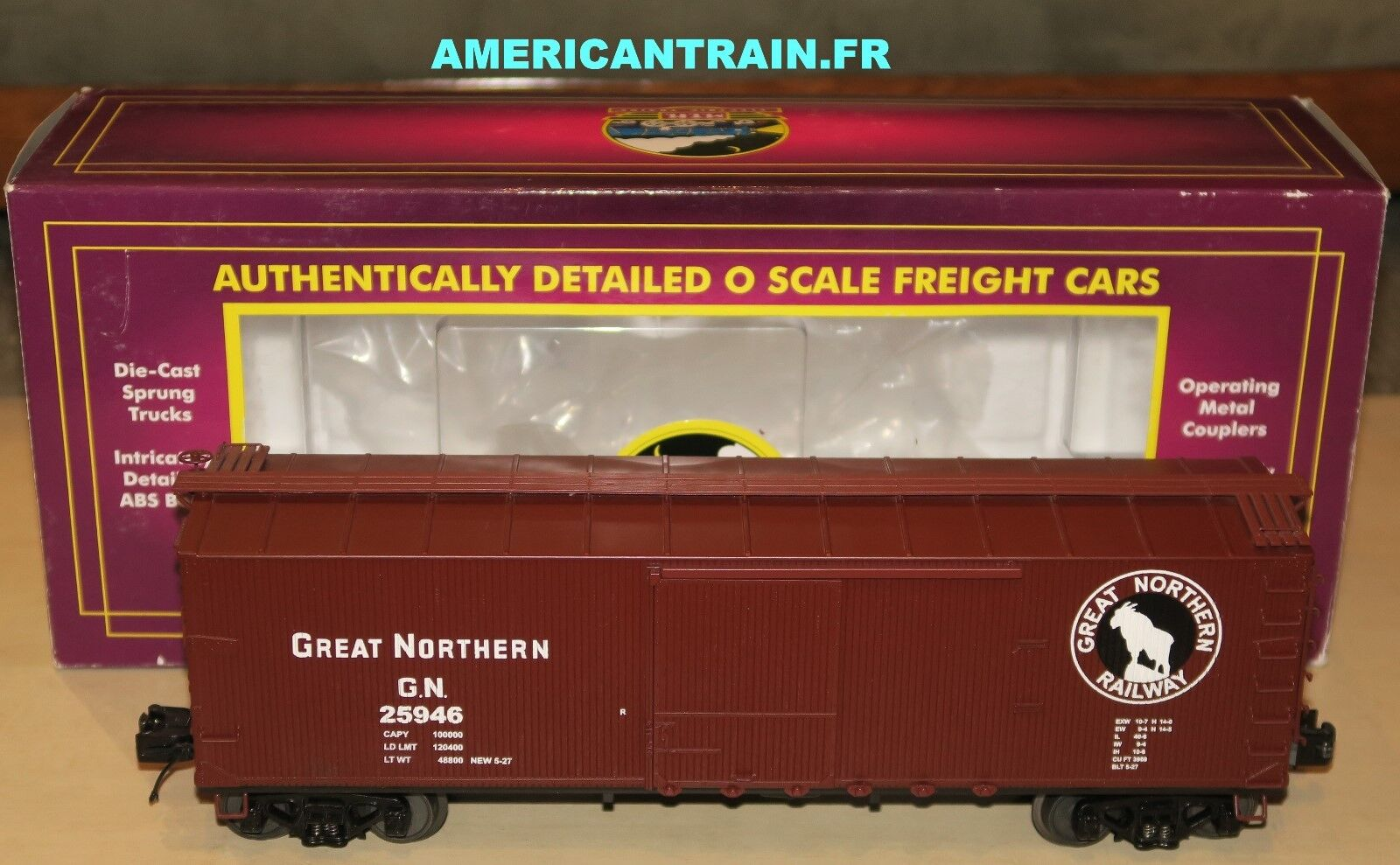 Wagon 40' USRA Double Sheathed Box Car 3 rails échelle O MTH