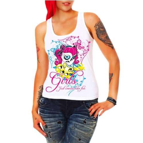 Mädchen Frauen Trägershirt Top Girls just wanna have fun Prinzessin Rockabilly
