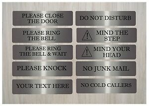 Brushed Silver Metal Door Plaques Knock Loudly VITAL SIGNS Ring bell /& wait