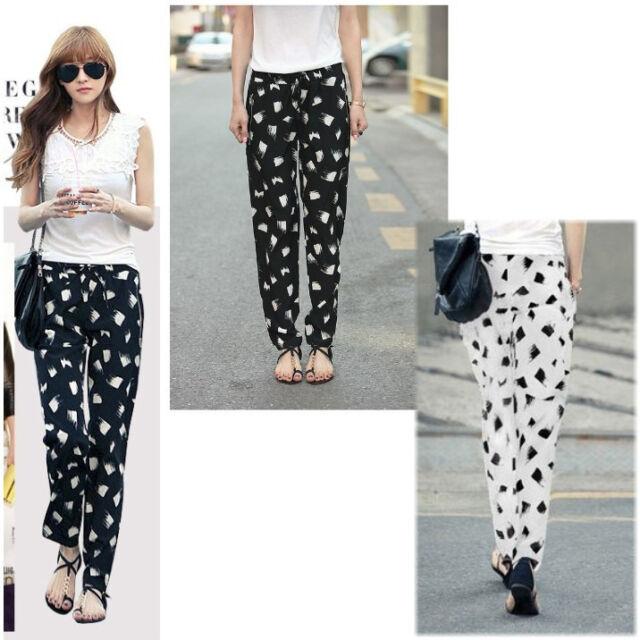 Fashion Womens Chiffon Printed Loose Harem Pencil Pants  Casual Trousers