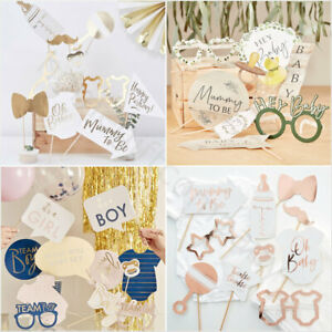 Oh-Baby-Shower-Photo-Booth-Sefie-Props-Unisex-Boy-Girl-Gender-Reveal-Party-Games