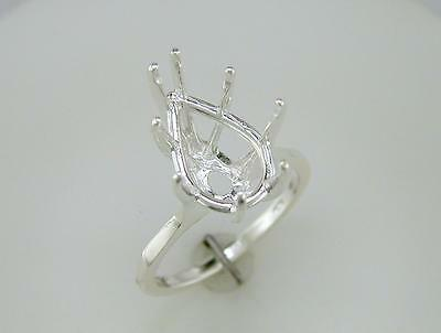 Pear Shape Solitaire 8 Prong Deep Ring Setting Sterling Silver