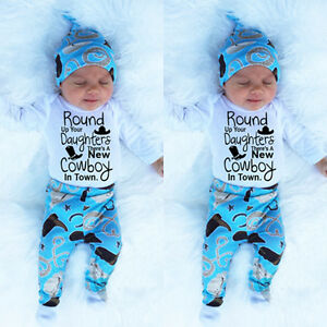 New Cowboy In Town Newborn Baby Boys Clothes Baby Grows Pants Hat