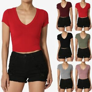 bda153b4e0 TheMogan Ribbed V-Neck Short Sleeve Crop Top Soft Jersey Cropped Tee ...