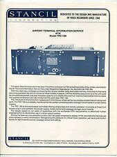 Vintage STANCIL Ad Brochure: AIRPORT TERMINAL INFO SERVICE - ATIS Model TRC-180