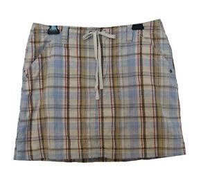 PLAID SCOOTER Skirt Size 10 L Skort Cotton Preppy French Cuff Blue Beige Pockets
