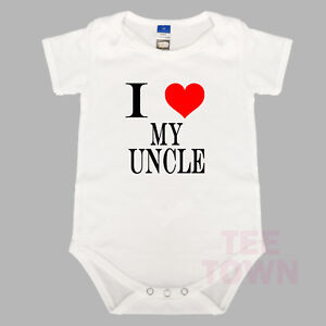 Baby Romper BabyGrow Cute Baby Suit. Funny I Love My Uncle