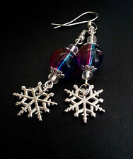 SNOWFLAKE WINTER ICE COLD FROZEN PURPLE BLUE BEAUTIFUL SILVER COLOR EARRING PAIR
