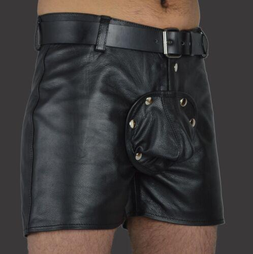 AW-537 Gay kurze lederhose Ledershorts front pouch abnehmbar,leder shorts Gr.32W