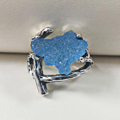 Unique 925 Silver Women Blue Gemstone Wedding Bridal Ring Vintage Jewelry Gifts