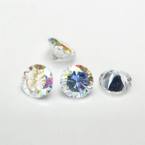 Forma redonda Chapado Cubic Zirconia Piedra de gemas sintéticas ab CZ X 2 piezas de 8 mm