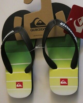 Quiksilver Boy/'s Java Polka Floral Green Yellow Black Flip Flops Sandals 12//1//4