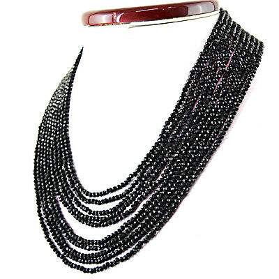Gemstone Energetic 331.00 Cts Natural 10 Line Untreated Black Spinel Round Faceted Beads Necklace
