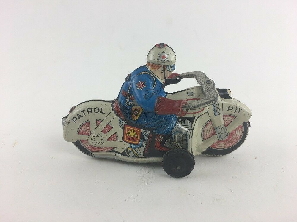 Vintage Vintage Vintage Police Department Motorcycle Tin Friction Toy Japan Patrol 4 1 2  a93