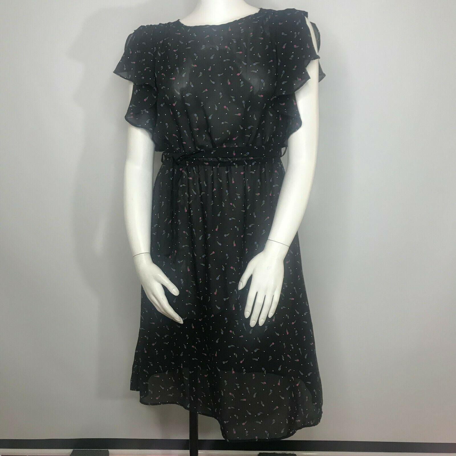 Vtg 80's Byer Too Sheer schwarz Floral Dress Größe 9 Tulips Polka Dots USA Made