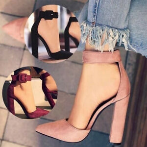 Sexy-Women-Buckle-Ankle-Strape-Suede-Sandals-Point-Toe-Up-High-Block-Heels-Shoes