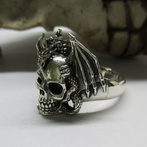 Totenkopf Ring Silber 925er Skull Schädel Drache Drachenring