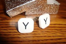 """ Y "" Monogram Letter Initial Cufflinks 1 Pair (Two) * White-Black Silver Plate"