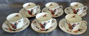 Coalport-England-Khotar-Set-of-6-Cups-amp-Saucers-Bone-China